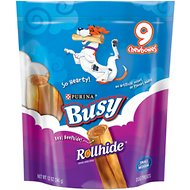 Busy Bone Rollhide Small/Medium Dog Treats, 9 count