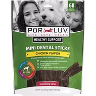 Pur Luv Healthy Support Chicken Flavor Mini Dental Sticks for Dogs, 68-count