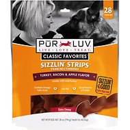 Pur Luv Sizzlin Strips Turkey, Bacon & Apple Treats for Dogs, Regular, 28-oz bag