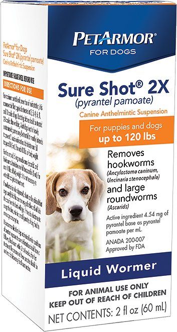 Petarmor Sure Shot 2x Liquid Wormer For Puppies Dogs Up To 120 Lbs
