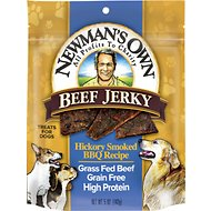 Newman's Own Organics Beef Jerky Hickory Smoked BBQ Recipe Dog Treats, 5-oz bag