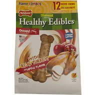 Nylabone Natural Healthy Edibles Turkey & Apple X-Small Dog Bone Treats, 12 count