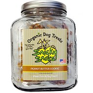 Snicky Snaks USDA Certified Organic Peanut Butter Cookie Dog Treats in Glass Jar