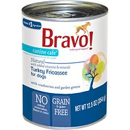 Bravo! Canine Cafe Turkey Fricassee Grain-Free Canned Dog Food, 12.5-oz, case of 12