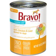 Bravo! Canine Cafe 95% Chicken & Liver Dinner Grain-Free Canned Dog Food, 13-oz, case of 12