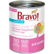 Bravo! Canine Cafe 95% Beef, Turkey & Liver Dinner Grain-Free Canned Dog Food, 13-oz, case of 12