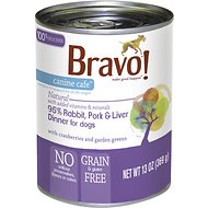 Bravo! Canine Cafe 95% Rabbit, Pork & Liver Dinner Grain-Free Canned Dog Food, 13-oz, case of 12
