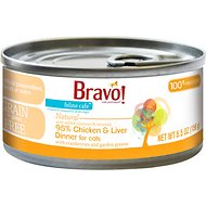 Bravo! Feline Cafe 95% Chicken & Liver Dinner Canned Cat Food, 5.5-oz, case of 24