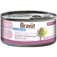 Bravo! Feline Cafe 95% Beef, Turkey & Liver Dinner Grain-Free Canned Cat Food, 5.5-oz, case of 24