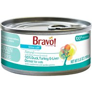 Bravo! Feline Cafe 95% Duck, Turkey & Liver Dinner Canned Cat Food, 5.5-oz, case of 24