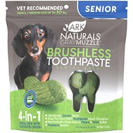Ark Naturals Gray Muzzle Breath-Less Brushless Toothpaste Small to Medium Senior Dog Chews, 4.1-oz bag