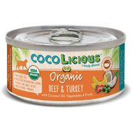 Party Animal Cocolicious Organic Beef & Turkey Grain-Free Canned Cat Food, 5.5-oz, case of 24