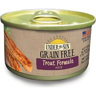 Under the Sun Grain-Free Trout Formula Pate Canned Cat Food, 3-oz, case of 12