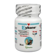 Vetoquinol Zylkene Behavior Support Capsules Small Dog & Cat Supplement 75 mg, 30 count