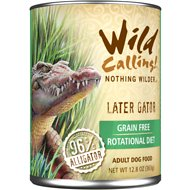 Wild Calling Later Gator 96% Alligator Grain-Free Adult Canned Dog Food, 12.8-oz, case of 12