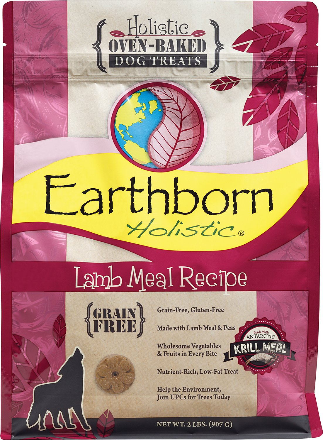 Earthborn Holistic Grain Free Lamb Meal Recipe Dog Treats 2 Lb Bag