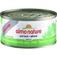 Almo Nature Legend 100% Natural Tuna with Corn Adult Grain-Free Canned Cat Food, 2.47-oz, case of 24