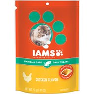 Iams ProActive Health Hairball Care Chicken Flavor Daily Cat Treats, 2.47-oz bag