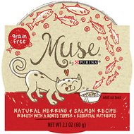 Purina Muse Natural Herring & Salmon Recipe in Broth with a Bonito Topper Adult Grain-Free Cat Food Trays, 2.1-oz, case of 10