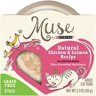 Purina Muse Natural Chicken & Salmon Recipe in Chicken Broth Adult Grain-Free Cat Food Trays, 2.1-oz, case of 10