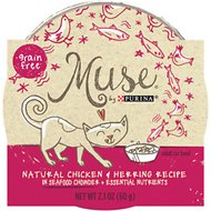 Purina Muse Natural Chicken & Herring Recipe in Seafood Chowder Adult Grain-Free Cat Food Trays, 2.1-oz, case of 10