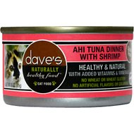 Dave's Pet Food Naturally Healthy Grain-Free Ahi Tuna Dinner with Shrimp Canned Cat Food, 3-oz, case of 24