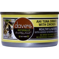 Dave's Pet Food Naturally Healthy Grain-Free Ahi Tuna Dinner with Chicken Canned Cat Food, 3-oz, case of 24