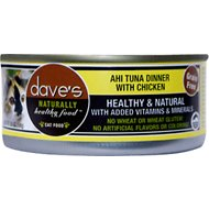 Dave's Pet Food Naturally Healthy Grain-Free Ahi Tuna Dinner with Chicken Canned Cat Food, 5.5-oz, case of 24