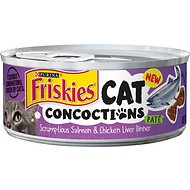 Friskies Cat Concoctions with Scrumptious Salmon & Chicken Liver Dinner Pate Canned Cat Food, 5.5-oz, case of 24