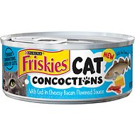 Friskies Cat Concoctions with Cod in Cheesy Bacon Flavored Sauce Canned Cat Food, 5.5-oz, case of 24