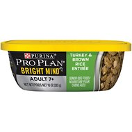 Purina Pro Plan Bright Mind Adult 7+ Turkey & Brown Rice Entree Wet Dog Food, 10-oz tub, case of 8