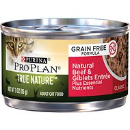 Purina Pro Plan Adult True Nature Natural Beef & Giblets Entree Grain-Free Canned Cat Food, 3-oz, case of 24