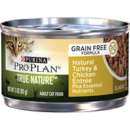 Purina Pro Plan Classic Adult True Nature Natural Turkey & Chicken Entree Grain-Free Canned Cat Food, 3-oz, case of 24
