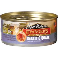Evanger's Super Premium Rabbit & Quail Dinner Grain-Free Canned Cat Food, 5.5-oz, case of 24