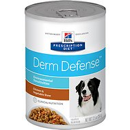 Hill's Prescription Diet Derm Defense Environmental Sensitivities Chicken & Vegetable Stew Canned Dog Food, 12.5-oz, case of 12