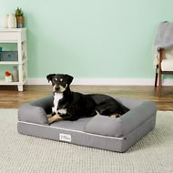 PetFusion Ultimate Lounge with Solid Memory Foam Dog & Cat Bed, Gray, Large