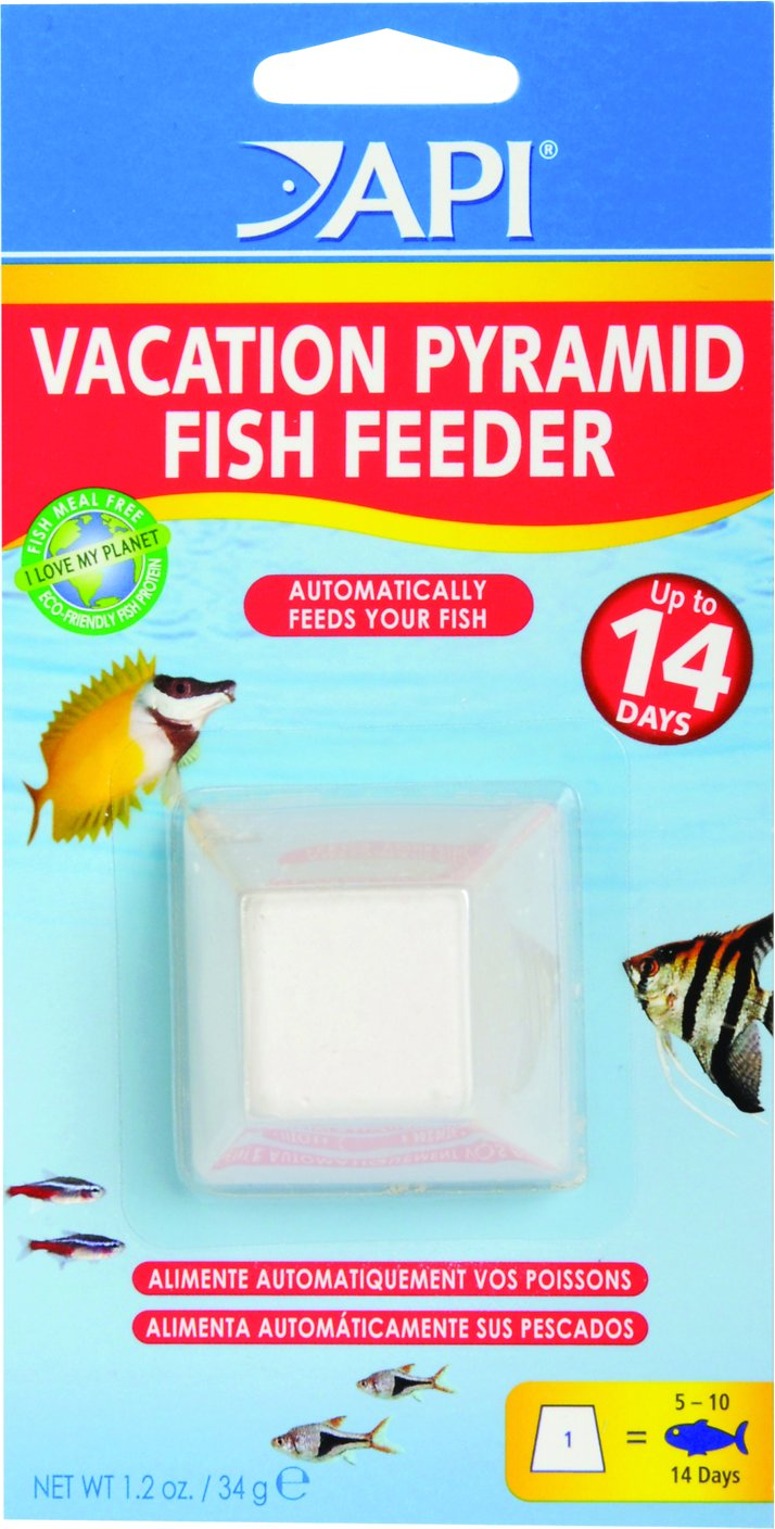 Api vacation pyramid fish food feeder 14 days for Weekend fish feeder