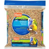 Hartz Bird Diet for Parakeets, Canaries & Finches Small Bird Food, 4-lb bag