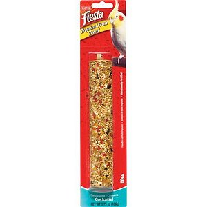 Kaytee Fiesta Tropical Fruit Cockatiel Treat Stick, 3.75-oz; Add some variety to your feathered friend's diet with the Kaytee Fiesta Tropical Fruit Cockatiel Treat Stick. Made from fortified, nutritious ingredients, this healthy treat contains an array of fruits and seeds. It also comes with a 3-way hanger made of a non-toxic, passable plastic to place in your bird's cage. Treats are a great way to bond and play with your pet so mix things up with this stick from Kaytee.