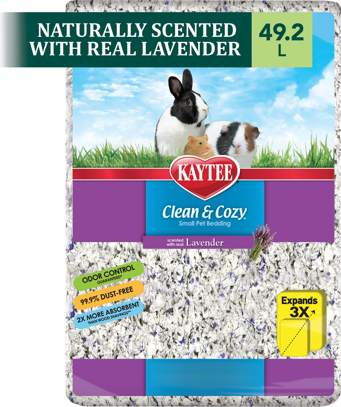 kaytee clean & cozy scented small animal bedding, lavender, 49.2-l