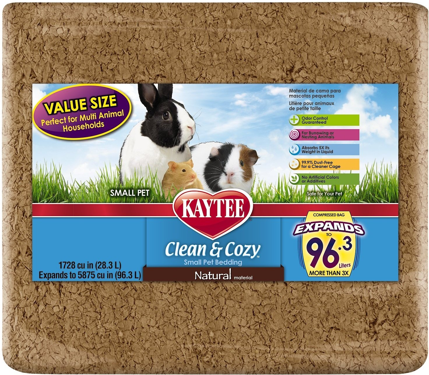 kaytee clean & cozy natural small animal bedding, 96.3-l - chewy