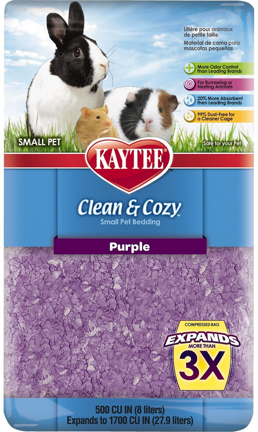 kaytee clean and cozy small animal bedding, purple, 27.9-l - chewy