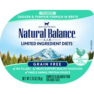Natural Balance L.I.D. Limited Ingredient Diets Chicken & Pumpkin Formula Shreds Grain-Free Wet Cat Food, 2.75-oz tubs, case of 24