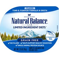 Natural Balance L.I.D. Limited Ingredient Diets Tuna & Pumpkin Formula Flaked Grain-Free Wet Cat Food, 2.75-oz tubs, case of 24