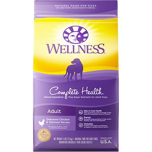 Wellness Complete Health Adult Deboned Chicken & Oatmeal Recipe Dry Dog Food, 5-lb bag; Forget the doggy bag, Koko wants some chicken of his own! Delicious Complete Health Chicken Recipe Dry Dog Food from Wellness has a special mixture of proteins and wholesome whole grains, giving your dog a diet full of all of the nutrients he needs. The formula is supplemented with antioxidants to keep immune systems strong and fight canine colds all year long. Sweet potatoes, apples, and blueberries, provide the energy needed for a long day of play!