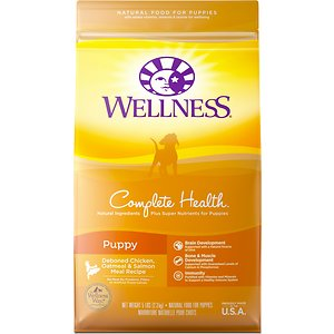 Wellness Complete Health Puppy Deboned Chicken, Oatmeal & Salmon Meal Recipe Dry Dog Food, 5-lb bag; Tiny bites don\\\'t mean tiny flavor...this kibble\\\'s full of the good stuff! Wellness Complete Health Puppy Recipe Dry Dog Food is made with deboned chicken, oatmeal andsalmon meal to give your new puppy all of the deliciousness he deserves in his first year of life. The formula is designed to meet his developmental needs and help him build strong bones and muscle.Plus, the smaller kibble size is perfect for little mouths.