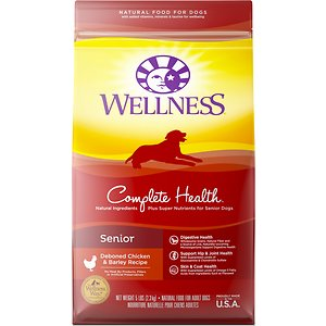 Wellness Complete Health Senior Deboned Chicken & Barley Recipe Dry Dog Food, 5-lb bag; While your senior dog will argue that some things just get better with age, he\\\'s sure to agree that his food is best when it\\\'s fresh. Deboned chicken, apples, blueberries, carrots, and spinach make Wellness Complete Health Senior Recipe Dry Dog Food a fresh-tasting meal he\\\'ll love hearing poured into his bowl every day. The formula is designed to help your dog maintain a healthy weight, keep his coat looking beautiful, his joints and bones strong, and let him age gracefully. A perfect dry food for every meal.