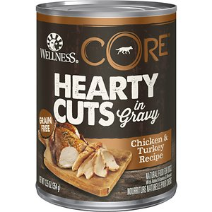 Wellness CORE Hearty Cuts in Gravy Chicken & Turkey Recipe Grain-Free Canned Dog Food, 12.5-oz, case of 12; Take your sidekick's supper up a notch with Wellness CORE Hearty Cuts Chicken & Turkey. This natural, grain-free canned wet food for dogs features meaty cuts of protein in a savory gravy and served with nutrient-rich superfoods like sweet potatoes and broccoli. It is crafted for complete and balanced everyday nutrition with essential vitamins and minerals. This wet dog food is formulated using only premium, all-natural ingredients and does not contain any wheat, corn, soy, meat by-products or artificial colors, flavors and preservatives. It is ideal as an entrée, mixer or food topper for your mini mate's next meal.