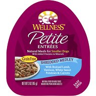 Wellness Petite Entrees Shredded Medley with Braised Lamb, Venison, White Sweet Potatoes & Carrots Grain-Free Wet Dog Food, 3-oz, case of 24