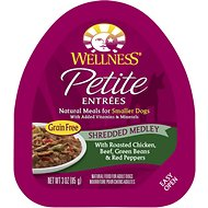 Wellness Petite Entrees Shredded Medley with Roasted Chicken, Beef, Green Beans & Red Peppers Grain-Free Wet Dog Food, 3-oz, case of 24